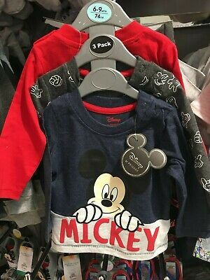 Primark set of 3 Baby Boys Disney Mickey Mouse long sleeved t-shirts tops 6-9mth