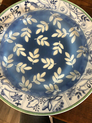 "Set 4 Villeroy & Boch Switch 3 7""  Dessert Appetizer Plates Blue Leaves"