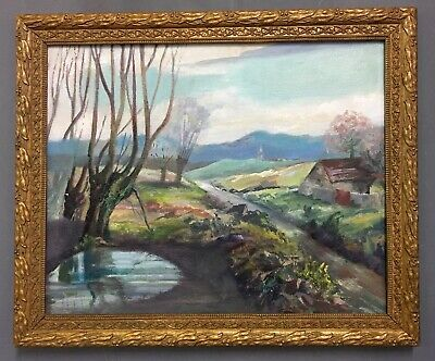 Large Antique French Impressionist Oil On Board Painting In Gold Gilt Frame