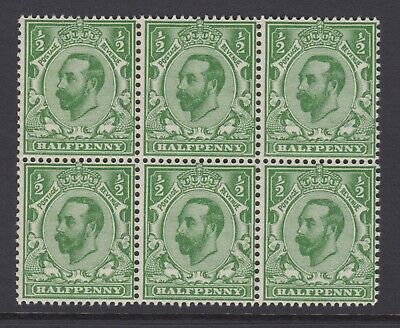 Block of 6 GB KGV 1/2d Green SG322 George V 1911 Mint Never Hinged Stamps