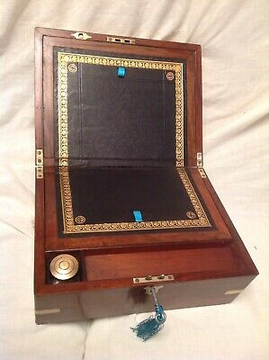 Wonderful Victorian Walnut Brass Bound Writing Slope/Working Lock/Key/Inkwell