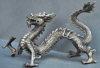 Collectable Handwork Miao SIlver Carve Dance Dragon Pray Exorcism Tibet Statue