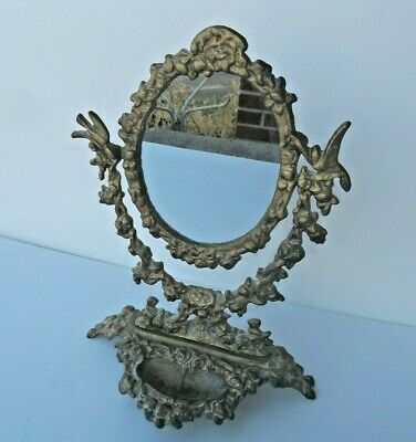 Ornate Cast Iron Victorian Style Vanity & Make-Up Mirror Antique Bronze Finish