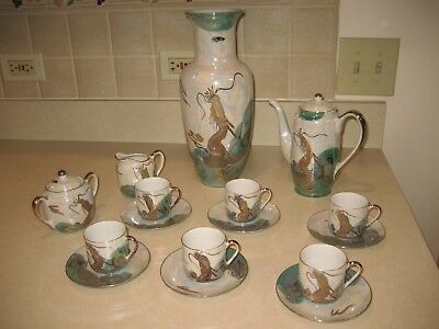 Japan Lobster Lithophane TeaPot Cups VASE Creamer & Sugar Set Luster OPALESCENT!
