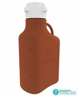 EZBio® 5L (1 GAL) Amber HDPE Carboy with VersaCap® 83mm, Double Bagged, Gamma St
