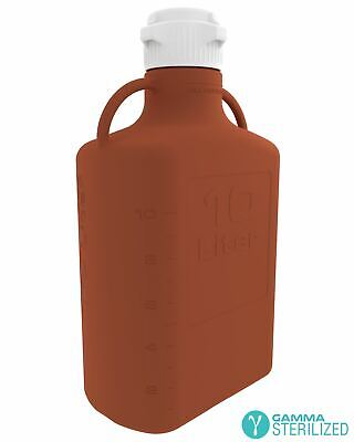 EZBio® 10L (2.5 GAL) Amber HDPE Carboy with VersaCap® 83mm, Double Bagged, Gamma