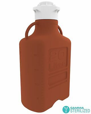 EZBio® 20L (5 GAL) Amber HDPE Carboy with VersaCap® 120mm, Double Bagged, Gamma