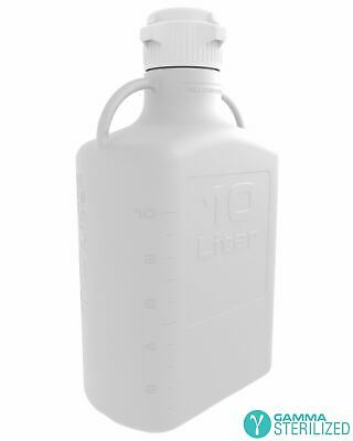 EZBio® 10L (2.5 GAL) HDPE Carboy with VersaCap® 83mm, Double Bagged, Gamma Steri