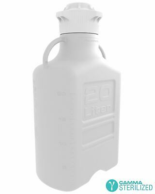 EZBio® 20L (5 GAL) HDPE Carboy with VersaCap® 120mm, Double Bagged, Gamma Steril