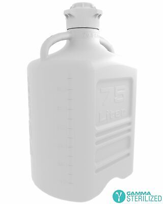 EZBio® 75L (20GAL) HDPE Carboy with VersaCap® 120mm, Double Bagged, Gamma Steril