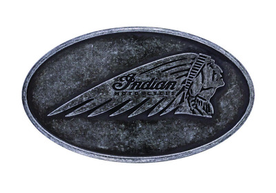 Indian Motorcycle Mens Black Silver Embossed Headdress Logo Belt Buckle 3.6""