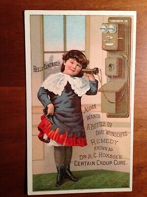 Patent medicine trade card girl using early telephone Dr Hoxie's Cure Design Co