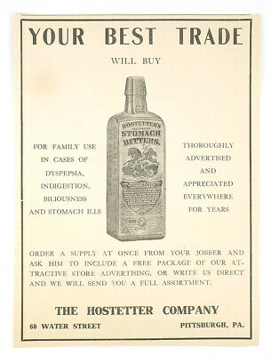 Early 1900s Hostetter's Stomach Bitters Medicine Antique Advertising Paper Flyer