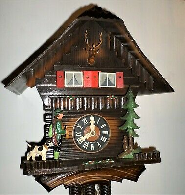 Rare Animated Musical Black Forest Schmeckenbecher Hunter Chalet Cuckoo Clock!