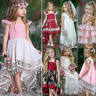 Flower Girls Kid Toddler Baby Princess Party Pageant Halloween Cute Long Dresses