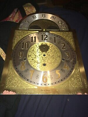 Vintage Grandfather Clock Face With Moon Shape At Top Amican Made