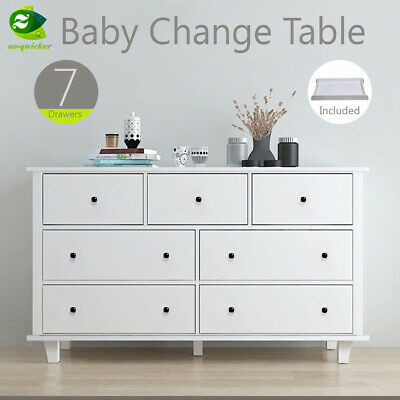 4/7Drawers white Baby Change Table Nursery Dresser Chest Storage Furniture
