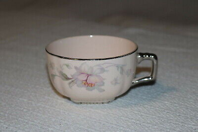 Limoges SILVER MOON Peach-Blo 4M133 U.S.A. Coffee Cups & Saucers (3 ea) w/flaws