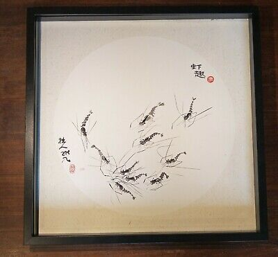Chinese ink paintings--Qun Xia (Shrimps) -50cm x 50cm mounted