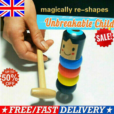Unbreakable Wooden Man Magic Toy Halloween  Funny Japanese Traditional Toy ~