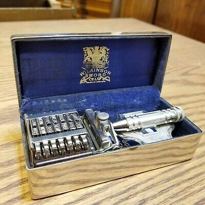 Vintage British Seven Day Safety Razor Shaving Set by Wilkinson Sword Case Blade