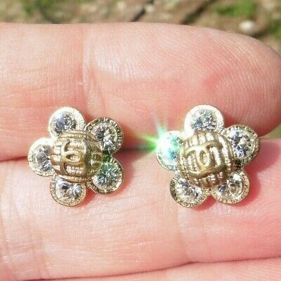 "CC Coco Chanel Crystal and Logo Stud Flower 1/2""-Some signs of wear"