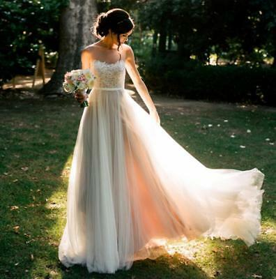 White Lace Beach Style Wedding Dresses Girls Summer Formal Bride Gown