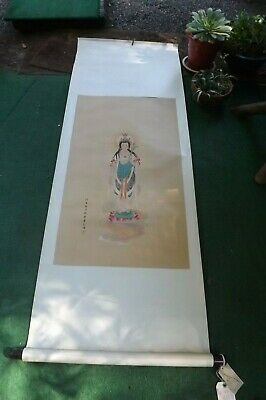 "Antique Chinese Hand Painting Scroll Quan Yin Signed Stamp 6 Feet x 25"" China"