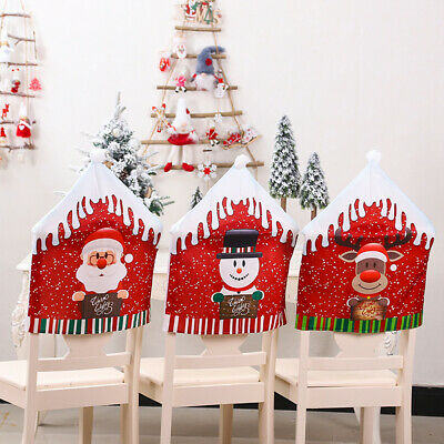 2//4//6//8 X Christmas Chair Covers Dining Seat Santa Claus Home Xmas Decoration US
