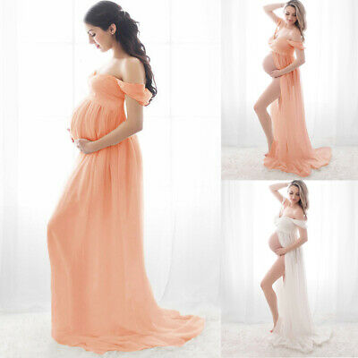 Pregnant Women Off Shoulder V Neck Maxi Long Dress Maternity Gown Photography