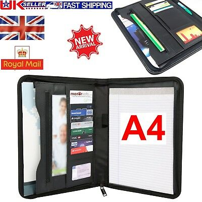 A4 Soft Touch Padded Leather Zipped Conference Folder Executive File Portfolio
