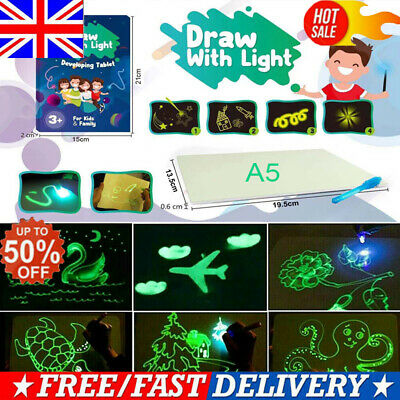 2019 Magic Draw W/ Light Drawing Board Fun Developing Toy Kids Educational Paint