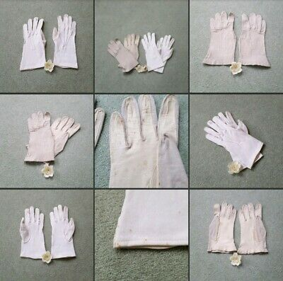 *Used* 2 x Pairs of Vintage ♡Small Ladies Gloves♡ Beige~White~Leather~Old Fabric