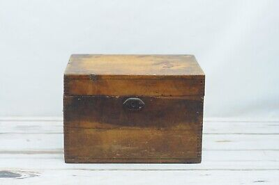 Antique Wood Trunk Box Document Box Campaign Chest Dovetailed Aafa