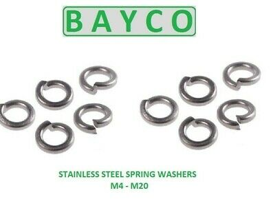 Spring Washers. M4 TO M20 Stainless Steel.  Metric A2 l Spring/coil washers.