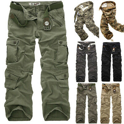 Mens Cargo Work Trousers Army Military Combat Multi Pockets Loose Hiking Pants