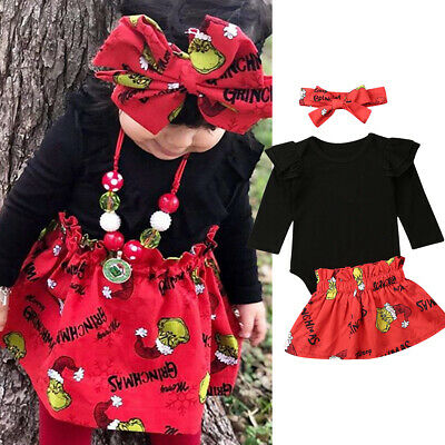 Baby Girl Kids Xmas Outfit Clothes Solid Tops Romper+Floral Dress Skirt 3PCS Set