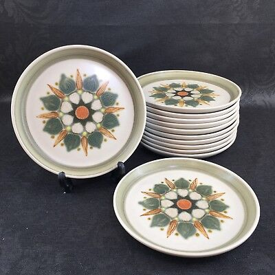"Set Of 4 Langley Denby Sherwood Stoneware Hand Painted 6.5"" Bread Plates England"