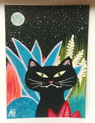 Original OOAK Painting ACEO ATC 2.5 x 3.5 Signed Black Cat Colorful Garden Stars