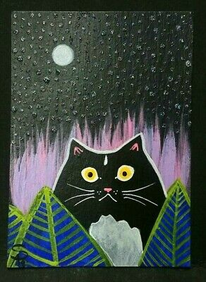 Original OOAK Painting ACEO ATC 2.5 x 3.5 Signed Black and White Cat Starry Sky