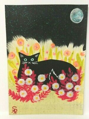 Original OOAK Painting ACEO ATC 2.5 x 3.5 Signed Black Cat Laying in Flowers