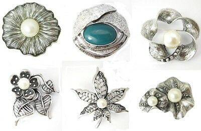 Wholesale Lot 6 Arts & Crafts VTG Retro Style Brooch Silver Tone Flower Blossom