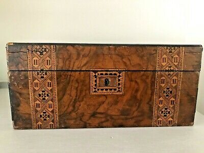 Antique Victorian Tunbridge Ware Banded Writing Slope - FOR RESTORATION