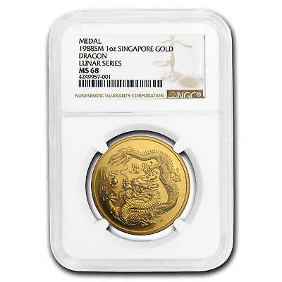 1988 Singapore 1 oz Gold 100 Singold Dragon MS-68 NGC - SKU#194062