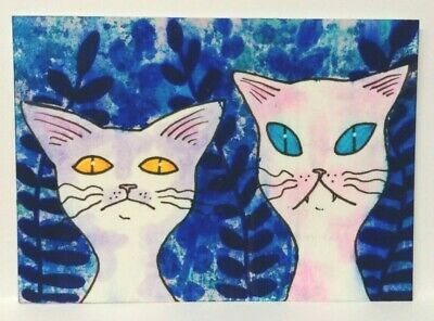 Original Painted ACEO Art Card 2.5 x 3.5 Pink Purple Spotted Cats Blue Ferns