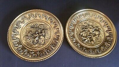 "(LOT OF 2) Vintage 12"" Brass Wall Hanging Plate Plaques Tavern Scenes"