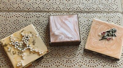 Mother Of Pearl Vintage Mirrored Compacts & Pill Box, 3