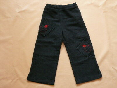5 ans pantalon chiné noir broderies rouges SERGENT MAJOR - TRES BON ETAT - fille