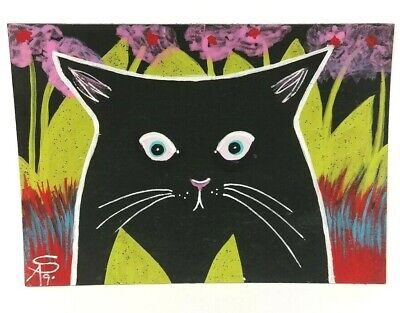 Original OOAK Painting ACEO ATC 2.5 x 3.5 Signed Black Cat Ears Back Nature