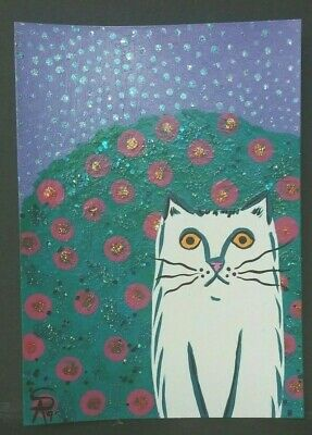 Original OOAK Painting ACEO ATC 2.5 x 3.5 Signed White and Blue Cat Flowers